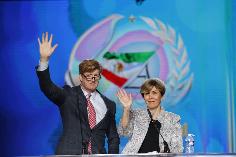 Image: Linda Chavez, chairwoman of the US Center for Equality Opportunity and co-master of ceremony of the Free Iran annual gathering of Iranian communities, Le Bourget, Paris, France, 9 July 2016, saluting a crowd of dozens of thousands here alongside Congressman Patrick Kennedy. Copyright Siavosh Hosseini | The Media Express 2016.