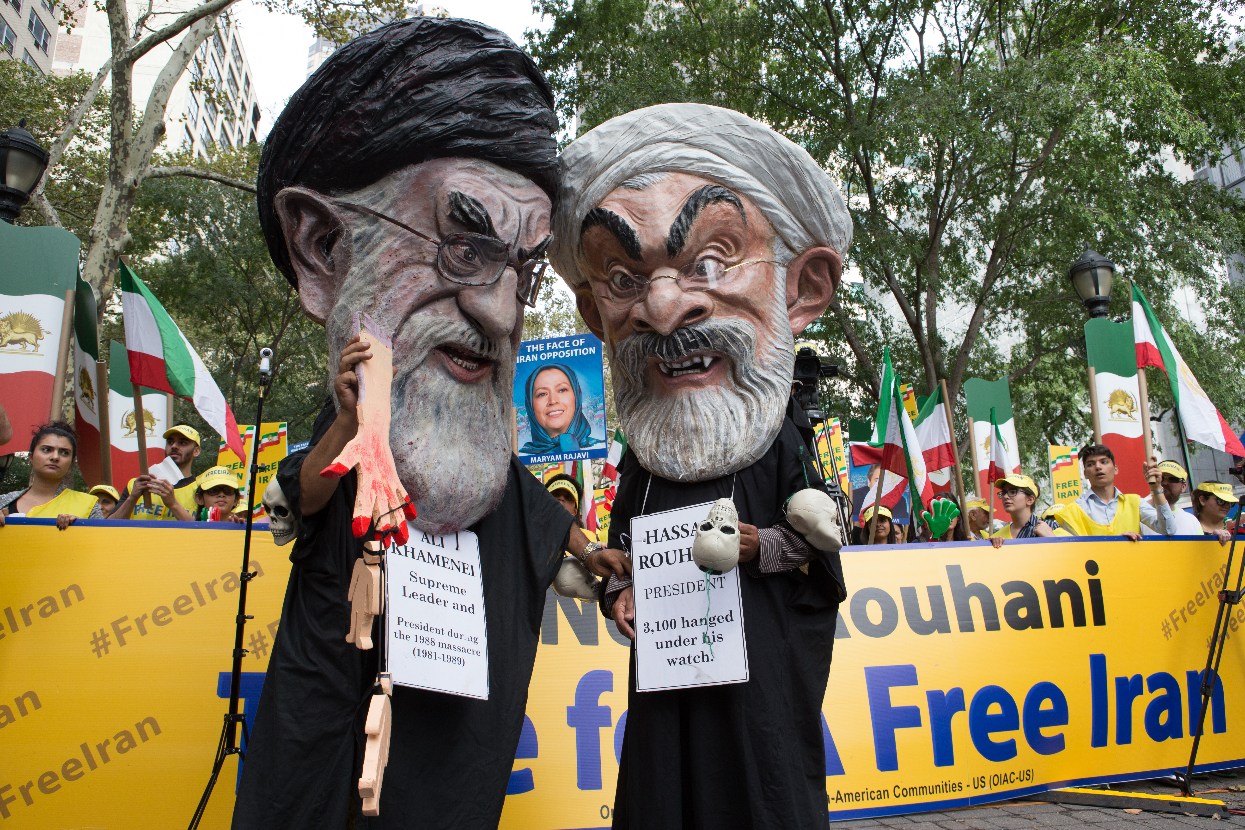 United Nations, New York, Iranians Rally Against Rouhani